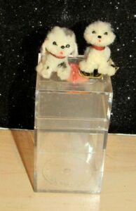 "Lot of 2 Vintage ARA Austria 1"" Black & White Dogs Plush 100% Wool In CASE MINT"