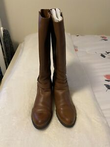 """ISSAC Mizrahi LIVE"" Cognac Leather Buckled Zipper Riding Boots Womens 9M"