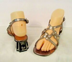 Robert Clergerie Paris Bronze Leather Strappy Slingback Sandals Shoes 37 6.5-7