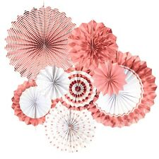 Rose Gold Paper Fans Decorations Bridal Shower Birthday Fiesta Party Supplies
