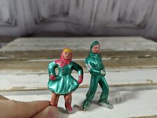 Barclay Metal Village Skaters Male & Female Figure Lead Toy People Home Xmas Hol