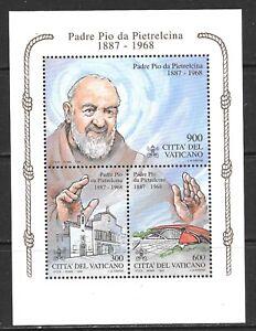 1999 Vatican City miniature sheet featuring Pope Pio da Pietrelcina in UMM