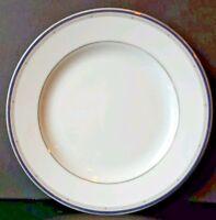 "3 Bernardaud Phoebe Tandem White Small Bread Butter Plates Silver Blue Trim 6.5"""