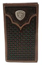 Ariat Western Mens Wallet Rodeo Leather Weave Embossed Concho Brown A3540533