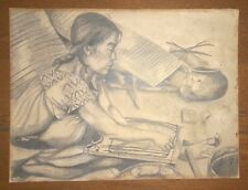 "SATURNINO HERRAN GUINCHARD 24""x18"" -MEXICAN GIRL- GRAPHITE PENCIL ON PAPER"