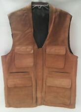 Men's Tan Brown Leather Sports Hunting Safari Vest Shooting Fishing Jacket