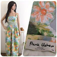 Vintage Frank Usher 1950s 60s Cotton Painted Floral Daisy Maxi Dress 6 8 34 36