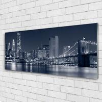 Print on Glass Wall art 125x50 Picture Image City Bridge Architecture