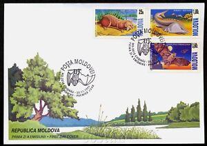 1999 Bat,Protected animals,Lutra,Otter,Beluga,Pipistrello,Moldova,Mi.337,FDC