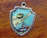 Vintage silver SAN FRANCISCO CALIFORNIA GOLDEN GATE TROLLEY SHIELD charm #E10