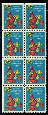1929 CHRISTMAS SEALS (WX50) block 8, perf 12.5. OGNH MINT & LOVERLY.