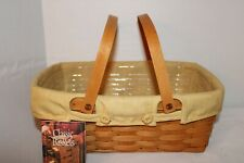 New Listing2002 Longaberger Small Market Basket, Fabric, Protector, Card