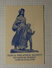 Ponca Philatelic Society Annual Exhibit 1938 Philatelic Souvenir Ad Label