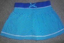 EUC Girls Sz 5 Lands End Kids Turquoise Dot Cotton Knit Skort Blue Elastic Waist