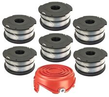 Trimmer Spool 6 Pack and Cap Replacement for Black and Decker DF-065-BKP