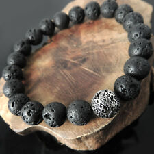 Fire Protection Courage OM Bracelet Lava Rock Sterling Silver Dragon Bead BR925