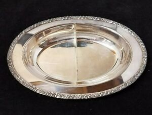 """Henley Oneida Community Silver Plate Oval Divided Serving Dish 12"""" Candy & Nuts"""