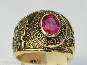 9x7mm Knights Templar Masonic Mason July Red Ruby CZ Birthstone Men Ring Size 8