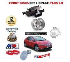 FOR HONDA CIVIC TYPE S 2.2 CDTi 2007-2012 NEW FRONT BRAKE DISCS + PADS SET