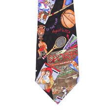 Nicole Miller Sports Fan Baseball Football Basketball Print Silk Neck Tie