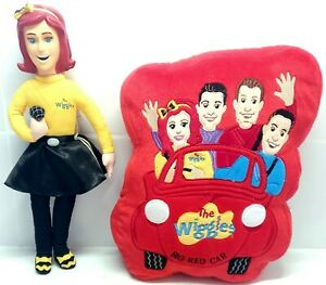 The Wiggles Singing Emma Doll & Big Red Car Cushion Pillow GENUINE WIGGLES TOYS