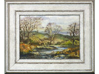 Woodland Landscape by River by A Cartwright, Original Oil on Board, signed