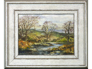 Woodland Landscape by River by A Cartwright, Original Oil painting, signed