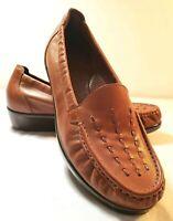 SAS Women's Tripad Comfort Brown Leather Slip On Wedge Loafers Shoes Sz. 9W
