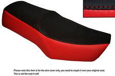 Negro & Rojo Brillante Personalizada encaja Suzuki Gn 250 87-96 Cuero Doble cubierta de asiento solamente