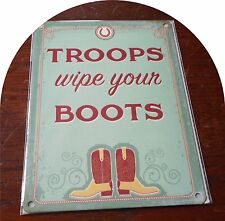 Contemporary Metal Tin Hanging Sign Wall Plaque Troops Wipe Boots / 15cm x 20cm