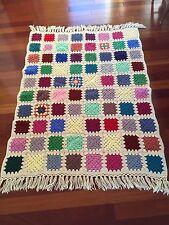 "Handmade Crocheted Afghan granny square 42"" X 58"" 3"" Fringe Lap Quilt"