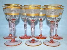 "7 Tiffin Pink Stem Etched Rose Gold Encrusted 5 1/2"" Cordial Wine Glass Set"