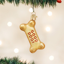 OLD WORLD CHRISTMAS DOG BISCUIT TREAT BONE GLASS CHRISTMAS ORNAMENT 32130