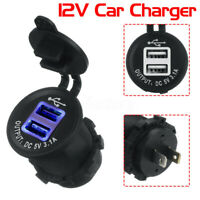 Mini Dual USB Car Charger 5V 3.1A Smart Adapter Blue Light Power Plug for