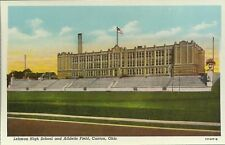 Old Vintage Lehman High School And Athletic Field In Canton Ohio Linen Postcard
