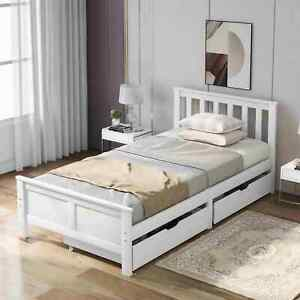 Storage Bed with 2 Drawers White Wooden Pine Single or Double Bed Frame Bedroom