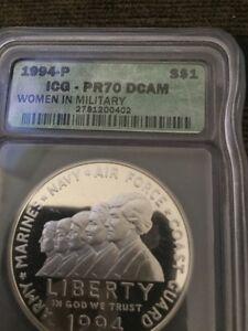 1994-P WOMEN IN MILITARY SILVER DOLLAR COMMEMORATIVE COIN IGC PR70 $1380 PGUIDE
