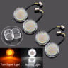 "Eagle Lights Harley Front 2"" LED Turn Signals Inserts White/Amber 1157 HD Bullet"