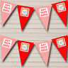Party Banner Bunting Red White Circus Stripes Birthday Children's Birthday