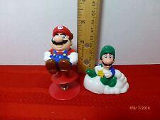 Vintage Mario and Luigi Nintendo Figures 1989 Lot of 2 GUC PVC Cake Toppers