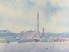 """""""Fontaines de la Concorde"""" Paris, France - William Benecke - Original Watercolor"""