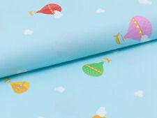 0,5 m  Kinder Baby Stoff  100% Baumwolle Heißluftballonen Wolken auf Himmelblau