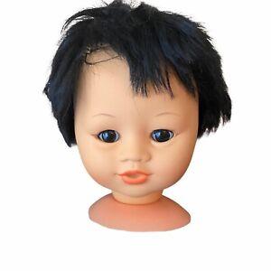 "VTG Vinyl Doll Head 6"" Parts For 18"" Baby Dolls Asian Black Hair Gorgeous Face"
