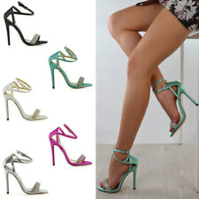 Womens Stiletto High Heel Diamante Sandals Ladies Satin Bridal Party Shoes Size
