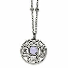 "Chisel Stainless Steel Synthetic Purple Calcedony Pendant with 30"" Necklace"