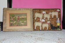 Putz sheep with box 5 sheep 1 shepherd and dog German stick legs early 1900's