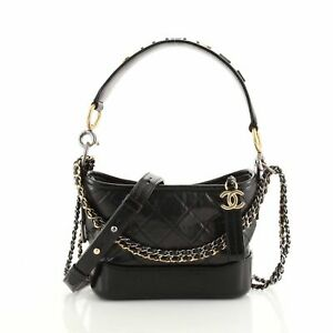 Chanel Gabrielle Hobo with Logo Handle Quilted Aged Calfskin Small