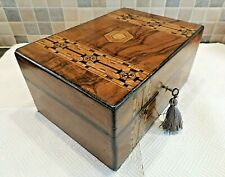 VICTORIAN INLAID TUNBRIDGE WARE FIGURED WALNUT BOX- RELINED INTERIOR- LOCK & KEY