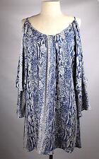 NWT PARKER Sz L - Blue Snake-print, Open Sleeve Silk Tunic Top or Dress - $209
