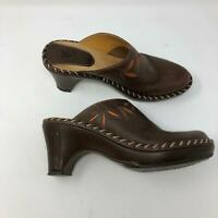 Frye Mules Womens 7M Brown Leather Slip On Clogs Cut Out Detail Heels P